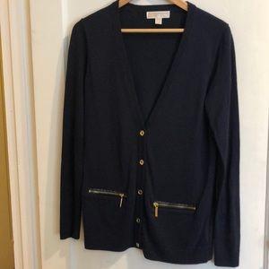 Michael Kors Navy long Button Front Cardigan